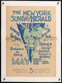 6t190 NEW YORK SUNDAY HERALD linen 20x28 advertising poster 1895 colored cartoon, baseball picture!
