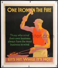 6t061 ONE IRON IN THE FIRE linen 36x44 motivational poster 1929 Elmes art, mind your own business!