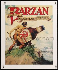 6t195 RAINIER BREWING COMPANY linen 22x28 advertising poster 1980s Tarzan rip-off Barzan with beer!