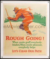 6t063 ROUGH GOING linen 36x44 motivational poster 1929 Elmes art of man traveling in snowstorm!