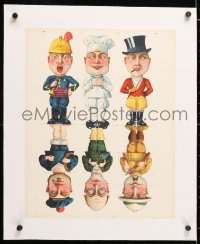 6t169 SIX MEN linen 15x18 French special poster 1910s wacky guys with interchangeable parts!