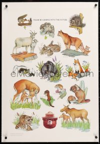 6t170 SMOKEY BEAR linen 20x20 special poster 1992 animal art, please be careful with the future!