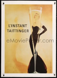 6t199 TAITTINGER linen 21x31 French advertising poster 1988 art of sexy woman & champagne flute!