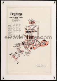 6t172 TRIUMPH linen 20x30 English special poster 1950s Perkins art diagram of twin cylinder engine!