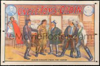 6t077 UNCLE TOM'S CABIN linen 28x43 stage poster 1920s stone litho of Eliza's escape from the tavern!