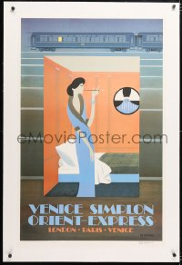 6t057 VENICE SIMPLON ORIENT-EXPRESS signed linen 25x39 French art print 1981 by Pierre Fix-Masseau!