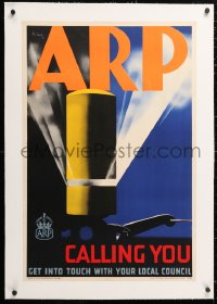 6t078 ARP CALLING YOU linen 20x30 English WWII war poster 1938 Pat Keely art, Air Raid Precaution!