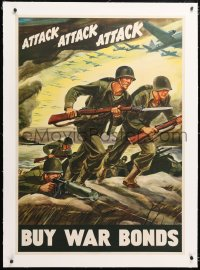 6t079 ATTACK ATTACK ATTACK linen 28x40 WWII war poster 1942 cool Warren art of soldiers advancing!
