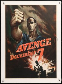 6t080 AVENGE DECEMBER 7 linen 29x40 WWII war poster 1942 attack on Pearl Harbor, Bernard Perlin art