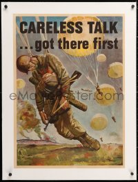 6t082 CARELESS TALK GOT THERE FIRST linen 20x28 WWII war poster 1944 art by dead paratrooper by Stoops!