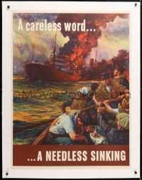 6t083 CARELESS WORD A NEEDLESS SINKING linen 29x38 WWII war poster 1942 art by Anton Otto Fischer!