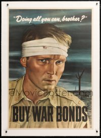 6t084 DOING ALL YOU CAN BROTHER linen 29x41 WWII war poster 1943 Sloan art of wounded soldier!