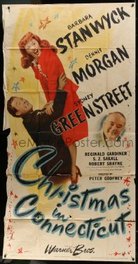 6w113 CHRISTMAS IN CONNECTICUT 3sh 1945 Barbara Stanwyck, Dennis Morgan, Sydney Greenstreet!