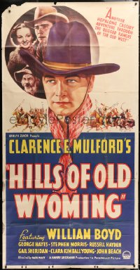 6w004 HILLS OF OLD WYOMING style A 3sh 1937 William Boyd as Hopalong Cassidy, Gabby Hayes, rare!