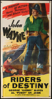6w114 JOHN WAYNE 3sh 1947 full-length image of The Duke, Riders of Destiny, ultra rare!