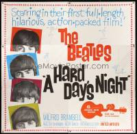 6w033 HARD DAY'S NIGHT 6sh 1964 great image of The Beatles, rock & roll classic!