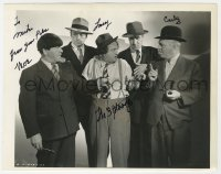 6w093 MOE HOWARD/LARRY FINE signed 8x10 key book still 1946 w/Curly in 3 Loan Wolves, Three Stooges!