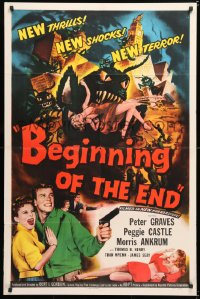 6w166 BEGINNING OF THE END 1sh 1957 Peter Graves & pretty Peggie Castle, giant grasshopper sci-fi!