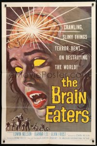 6w167 BRAIN EATERS 1sh 1958 AIP, classic close-up sci-fi horror art of girl's brain exploding!