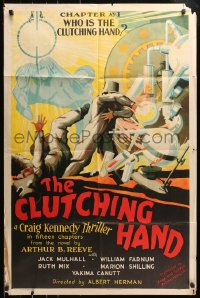6w168 CLUTCHING HAND chapter 1 1sh 1936 Jack Mulhall sci-fi serial, lab destroyed, ultra rare!