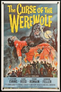 6w169 CURSE OF THE WEREWOLF 1sh 1961 Hammer, art of Oliver Reed holding victim by Joseph Smith!