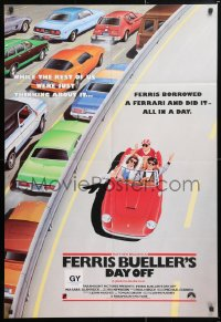 6w145 FERRIS BUELLER'S DAY OFF English 1sh 1986 completely different art of Broderick in Ferrari!