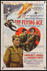 6w171 FLYING ACE 1sh 1926 cool all-black aviation, the greatest airplane thriller ever produced!