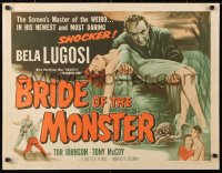 6w067 BRIDE OF THE MONSTER 1/2sh 1956 Ed Wood's worst, great art of Bela Lugosi carrying sexy girl!