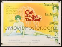 6w069 CAT ON A HOT TIN ROOF style B 1/2sh 1958 classic art of Elizabeth Taylor as Maggie the Cat!