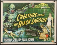 6w070 CREATURE FROM THE BLACK LAGOON style B 1/2sh 1954 best Reynold Brown art of monster & divers!
