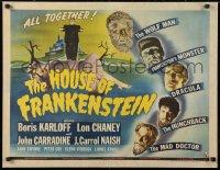 6w076 HOUSE OF FRANKENSTEIN 1/2sh 1944 Boris Karloff & top monster stars in make-up, ultra rare!