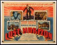 6w081 LOST HORIZON 1/2sh 1937 Frank Capra's mightiest production starring Ronald Colman, rare!