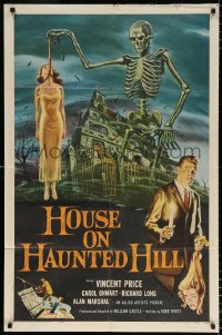 6w173 HOUSE ON HAUNTED HILL 1sh 1959 classic art of Vincent Price & skeleton with hanging girl!