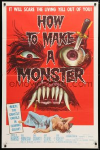 6w174 HOW TO MAKE A MONSTER 1sh 1958 ghastly ghouls, it will scare the living yell out of you!