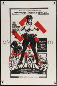 6w176 ILSA SHE WOLF OF THE SS 1sh 1974 w/ outrageously offensive tagline that was withdrawn, rare!