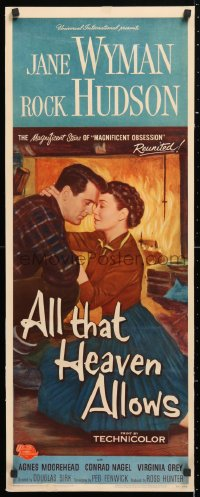 6w059 ALL THAT HEAVEN ALLOWS insert 1955 c/u romantic art of Rock Hudson about to kiss Jane Wyman!