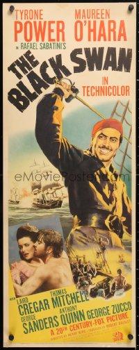 6w060 BLACK SWAN insert 1942 great art of pirate Tyrone Power & photo with Maureen O'Hara!