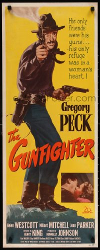 6w062 GUNFIGHTER insert 1950 full-length Gregory Peck's only friends were his guns, ultra rare!