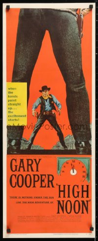 6w063 HIGH NOON insert 1952 best different art of marshal Gary Cooper between legs of Frank Miller!