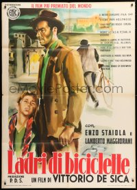 6w034 BICYCLE THIEF Italian 1p R1955 Vittorio De Sica's classic Ladri di biciclette, wonderful art!