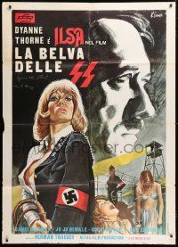 6w035 ILSA SHE WOLF OF THE SS signed Italian 1p 1975 by Dyanne Thorne & Howard Maure, art by Luca!