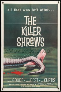 6w177 KILLER SHREWS 1sh 1959 classic horror art of all that was left after the monster attack!