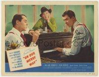 6w098 ON OUR MERRY WAY signed LC #7 1948 by James Stewart, at piano w/Henry Fonda & Burgess Meredith