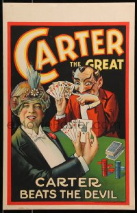 6w048 CARTER THE GREAT 14x22 magic poster 1926 he beats the Devil at poker with 4 aces, ultra rare!