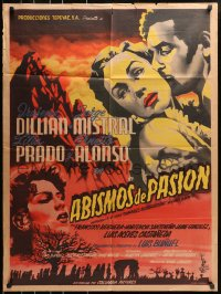 6w150 ABISMOS DE PASION Columbia style Mexican poster 1954 Bunuel's adaptation of Wuthering Heights!