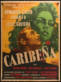 6w152 CARIBENA Mexican poster 1953 great Guas art of pretty Anabel & her lover Armand Calvo!