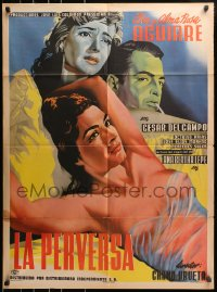 6w157 LA PERVERSA Mexican poster 1954 incredible art of sexy Alma Rosa Aguirre in see-through top!
