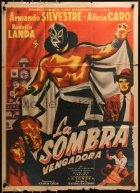 6w158 LA SOMBRA VENGADORA Mexican poster 1956 cool art of masked wrestler Fernando Oses!