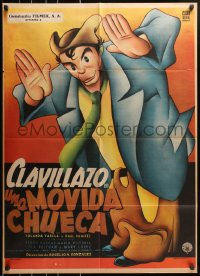 6w160 UNA MOVIDA CHUECA Mexican poster 1956 Clavillazo tests a drug that shows him the future!