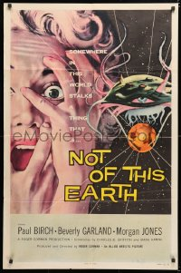 6w178 NOT OF THIS EARTH 1sh 1957 classic close up art of screaming Beverly Garland & alien monster!